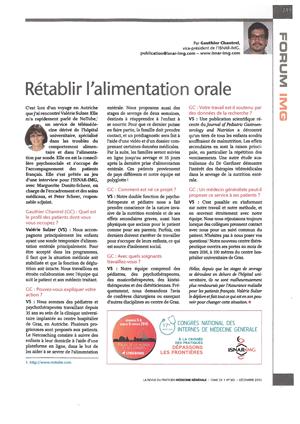 """""""Rétablir l'alimentation orale"""" - 12/2015"""